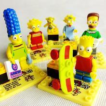 6pcs/Set Anime Movie The Simpsons Figures Building Bricks Blocks Sets Minifigures Model Classic Toys Bricks Compatible With Lego