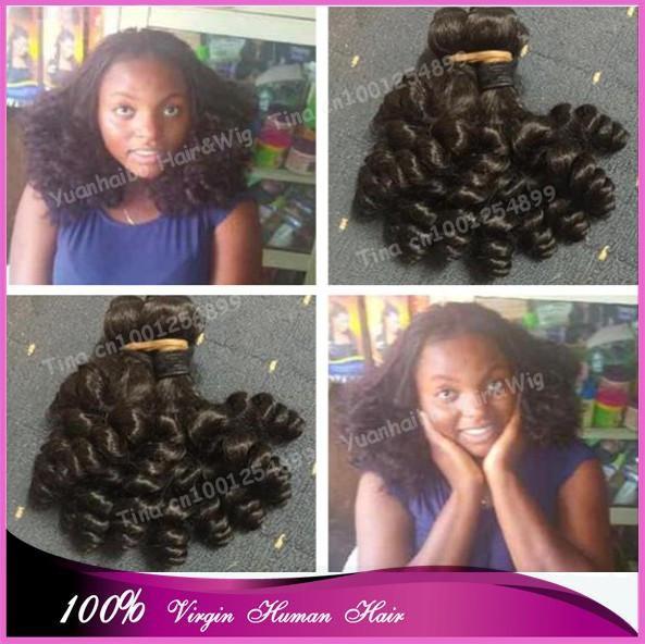 3pcs/lot Top 7A Grade! #1b virgin brazilian bounce curly cheap aunty funmi hair weavings Free Shipping<br><br>Aliexpress