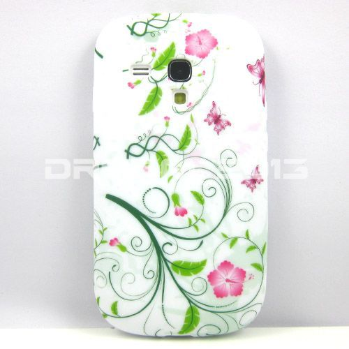 New Green Spring/Small Flower/Butterfly TPU Gel Case Cover For Samsung Galaxy S3 mini i8190(China (Mainland))
