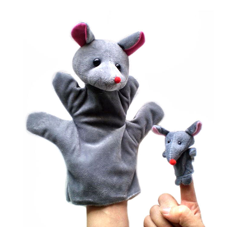 Zodiac animal parent-child finger and hand puppets 1 finger + 1 hand puppet set per Kid's Gift(China (Mainland))