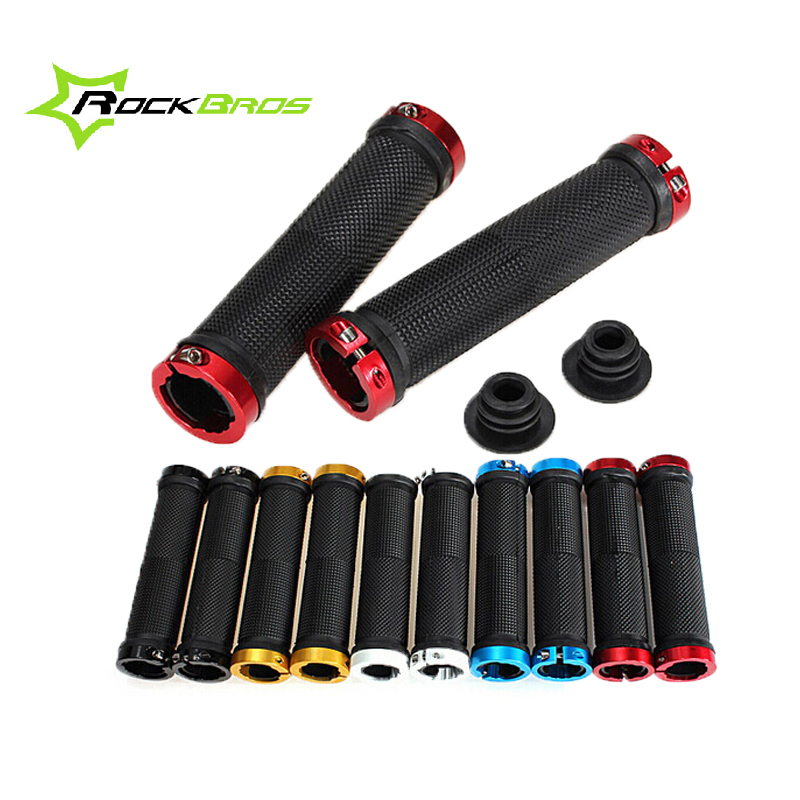 One Pair MTB Mountain Bike Grips Rubber Lock Handlebars Lock-on Fixed Gear Fixie End knock , 6 colors - Yue stor store