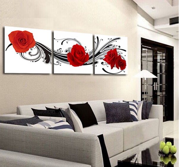 Modern wall art print 3 piece red rose flower home decor for Modern home decor pieces
