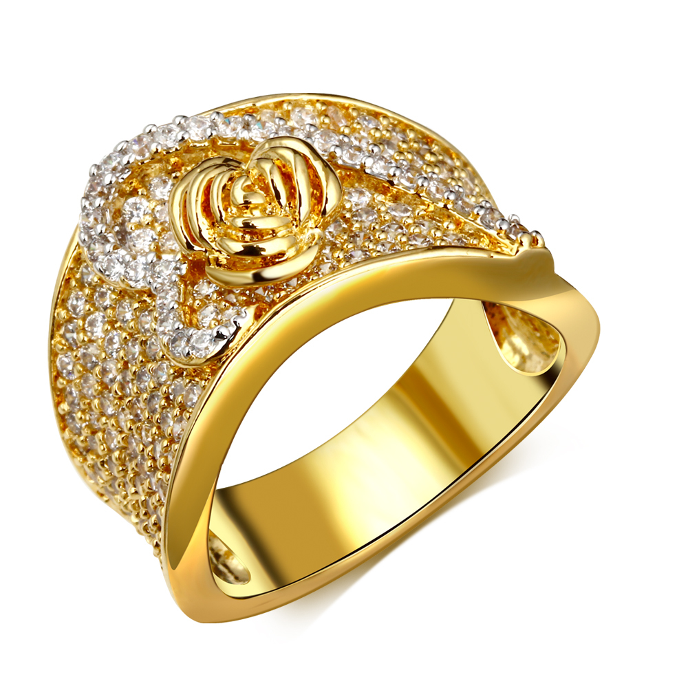 Flower Rings for party gold plated with cubic zircon crystal finger Ring high quality fashion jewelry Free shipment full size(China (Mainland))