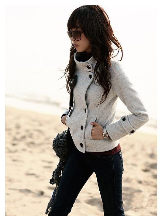 Fit lana de un solo pecho abrigos de guisantes cortos gabardinas mujer