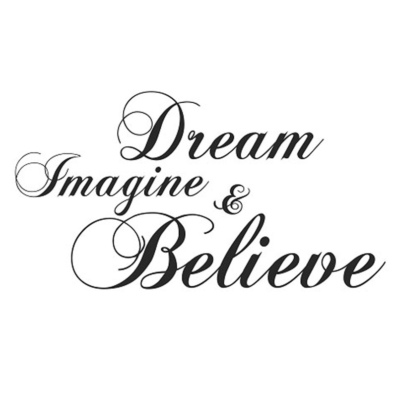Dream Imagine And Believe Wall Sticker Inspiration DIY Home Decor Creative Art Vinyl Wall Decal 59x31cm