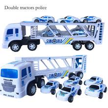 Новый Инерция тракторов автомобиль двухместный тракторов полиции детский игрушечный автомобиль небольшой грузовик