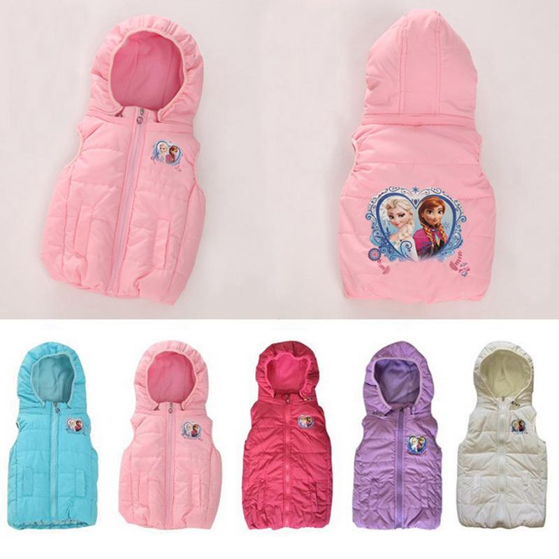 2-9 year children winter hooded vest cartoon female child with a hood cotton Anna Elsa vest  girl designer outwear cotton coat<br><br>Aliexpress