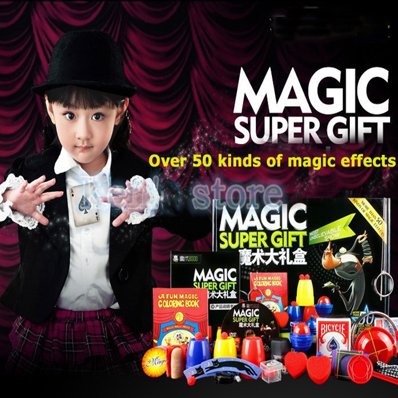 Magic Trick Set kit 50 Kinds Magic Play with DVD Teaching Professional Magie Prop Gimick Card children magic gift Puzzle Toy(China (Mainland))