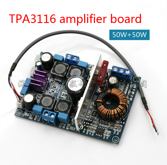 amplifier board+ booster module 12V battery-powered car TPA3116 digital power amplifier board dual-channel 50 W + 50 W(China (Mainland))