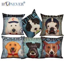 Cute Dog Cotton Linen Cushion Cover Throw Pillow