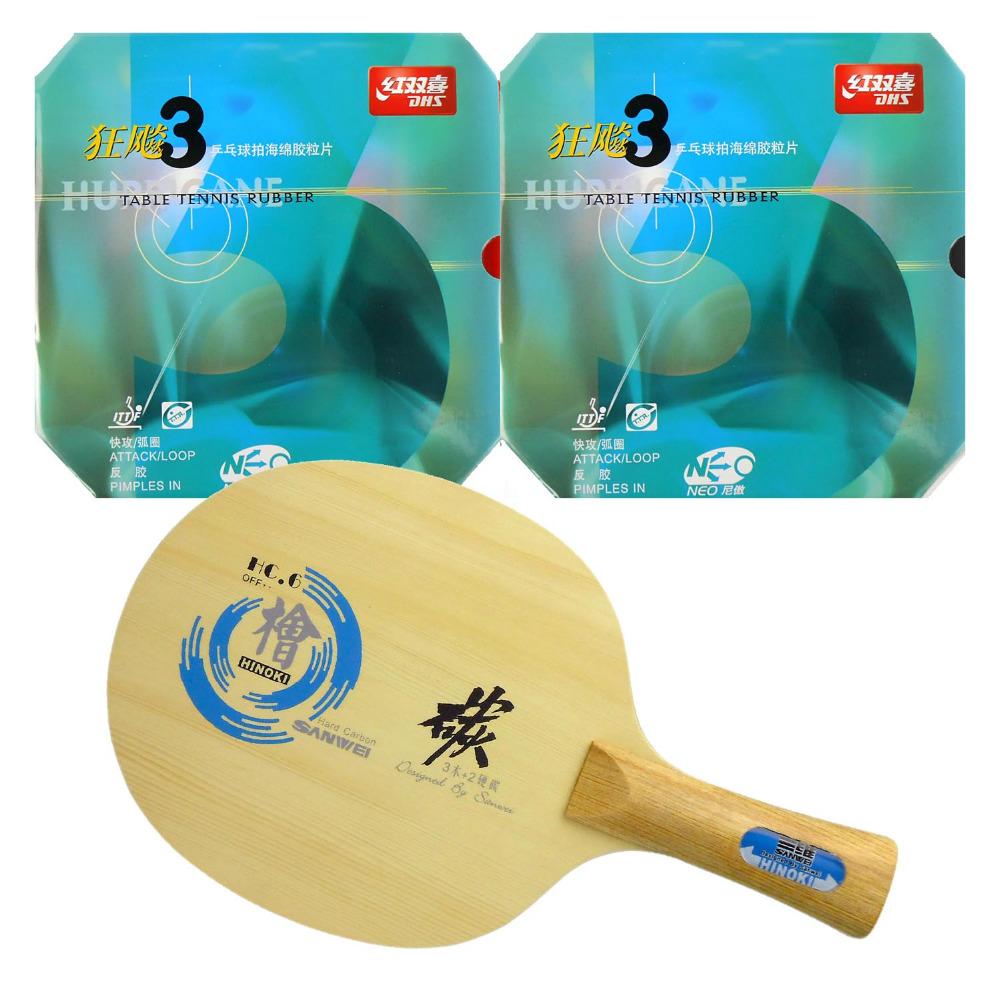 Фотография Pro Table Tennis (PingPong) Combo Racket: Sanwei HC.6 Blade with 2x DHS NEO Hurricane 3 Rubbers