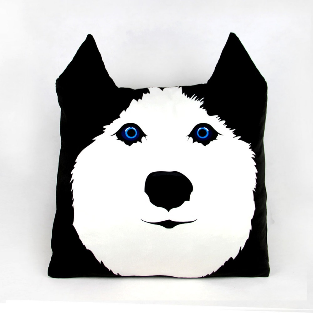 personalized black and white large pillow cases dog cushion cover housse de coussin 3d. Black Bedroom Furniture Sets. Home Design Ideas