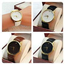 Vintage oro de las para mujer de lujo bien Simple Dial cuarzo reloj de pulsera