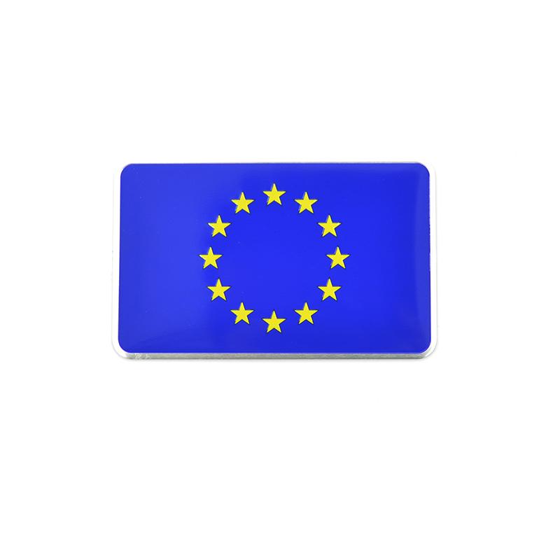 8cmx5cm Car Styling 3D Aluminum National European Union EU Flag Sticker Decals Decorative Badge Emblem Accessories High Quality(China (Mainland))