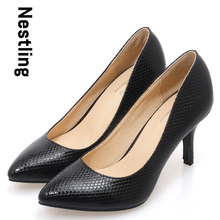 New 2016 Scales pointed toe OL women pumps Genuine leather spike heels women high heels shoes woman Size 34-41 D45
