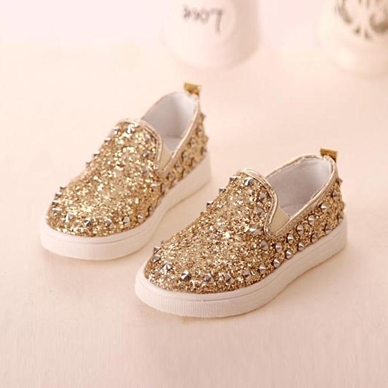 Gold Princess Rubber Rivet Kids Shoes Child School Shoes ...