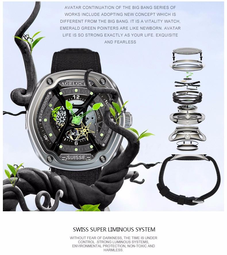 Швейцарский AGELOCER мужчины марка 316L стали мужские механические часы (Avator) Нуб Завод W