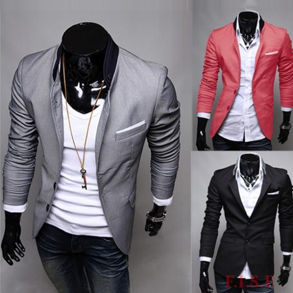 Casual Suits Men Blazer 2014 New Suit Slim Fit Jackets Coat Shirt Stylish Outerwear Cotton Solid Mens Jacket - best deals store