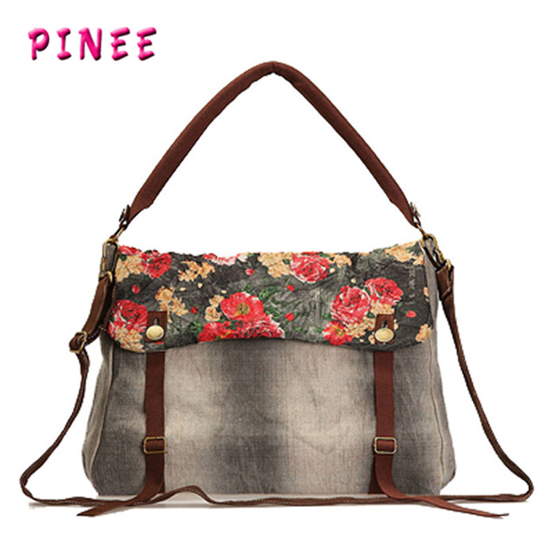 New arrive vintage women messenger bags flower printing canvas shoulder bag womens handbags(China (Mainland))