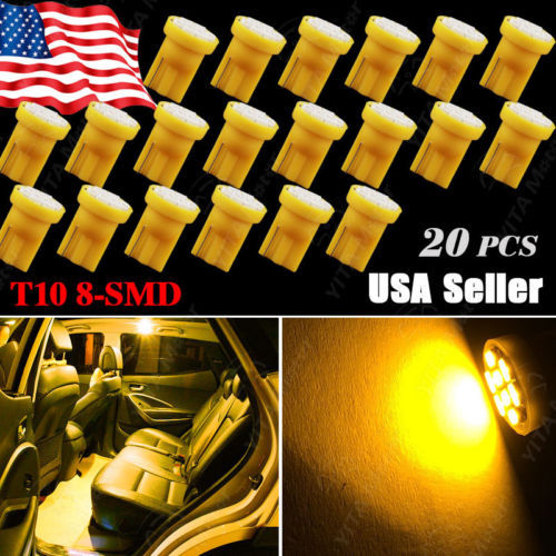 20pcs/lot T10 1206 w5w 8SMD Car led Lights Wedge License Plate Dome Door Map Light Bulbs 168 194 Amber Yellow Interior Bulbs -A(China (Mainland))