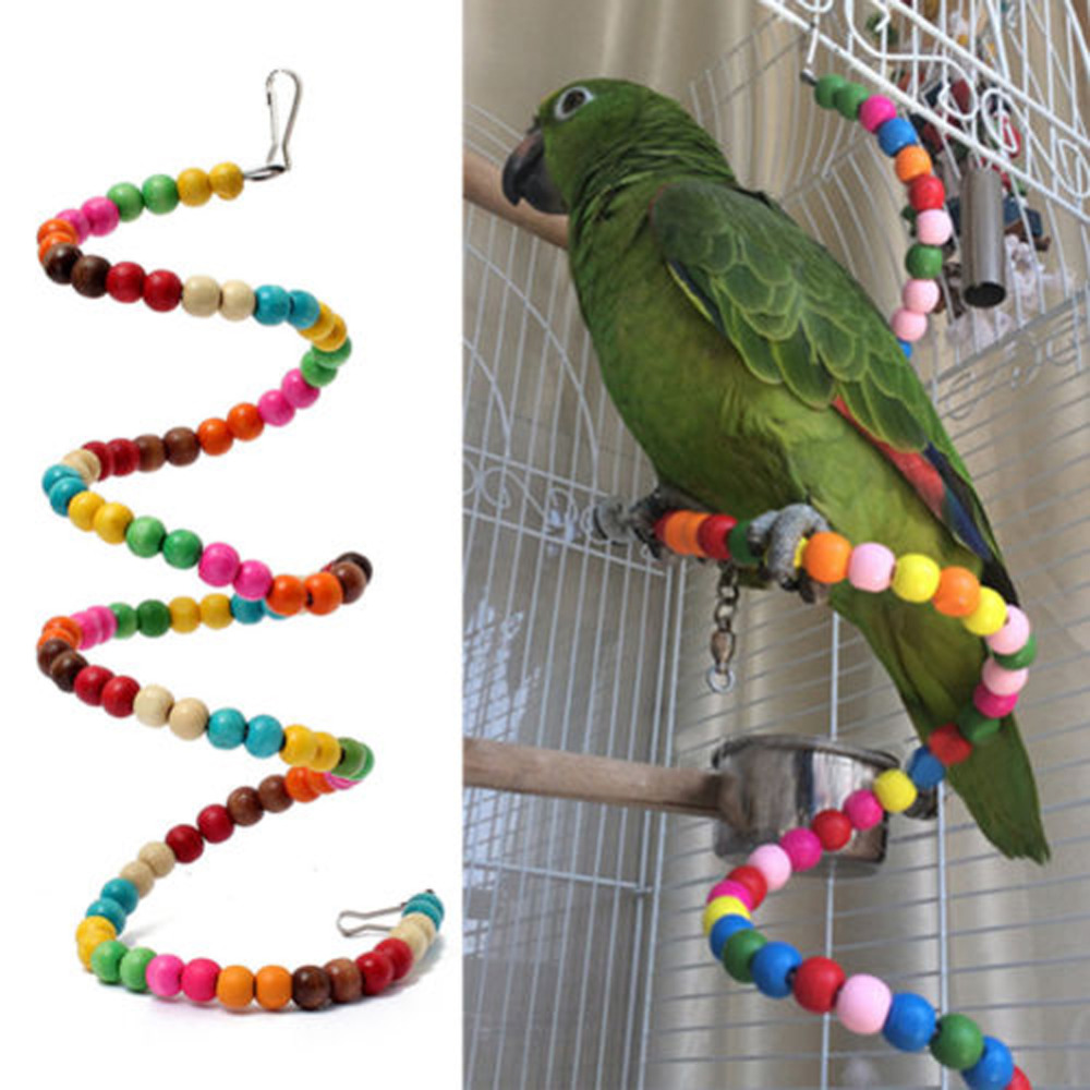 D1U#100CM Multicolor Beads Birds Cage Toys Pets Birds toys Wooden Bird Ladder Swing Exercise Rainbow Hamster Parrot Parakeet Toy(China (Mainland))