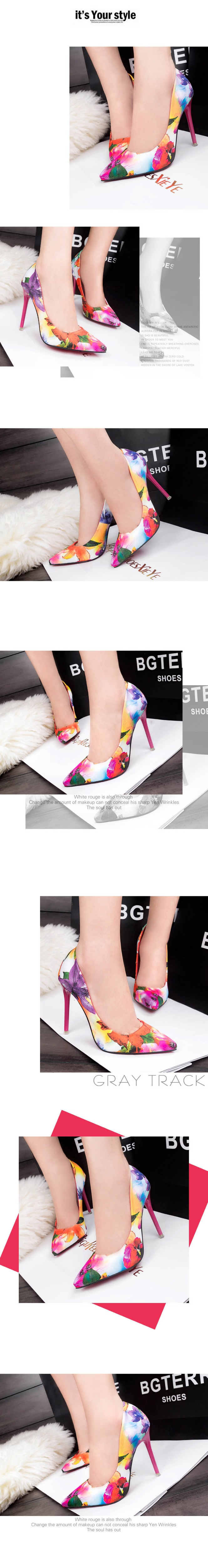 New High-heeled Pumps Women Shoes High Heels Blue Orange Printing Shallow Mouth Thin Heel Pointed Toe Shoes For Women ZK1.5