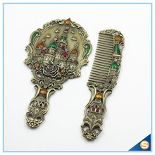 Antique Metal Enamel Handheld Mirror Set with Russia Castle Patterns(China (Mainland))