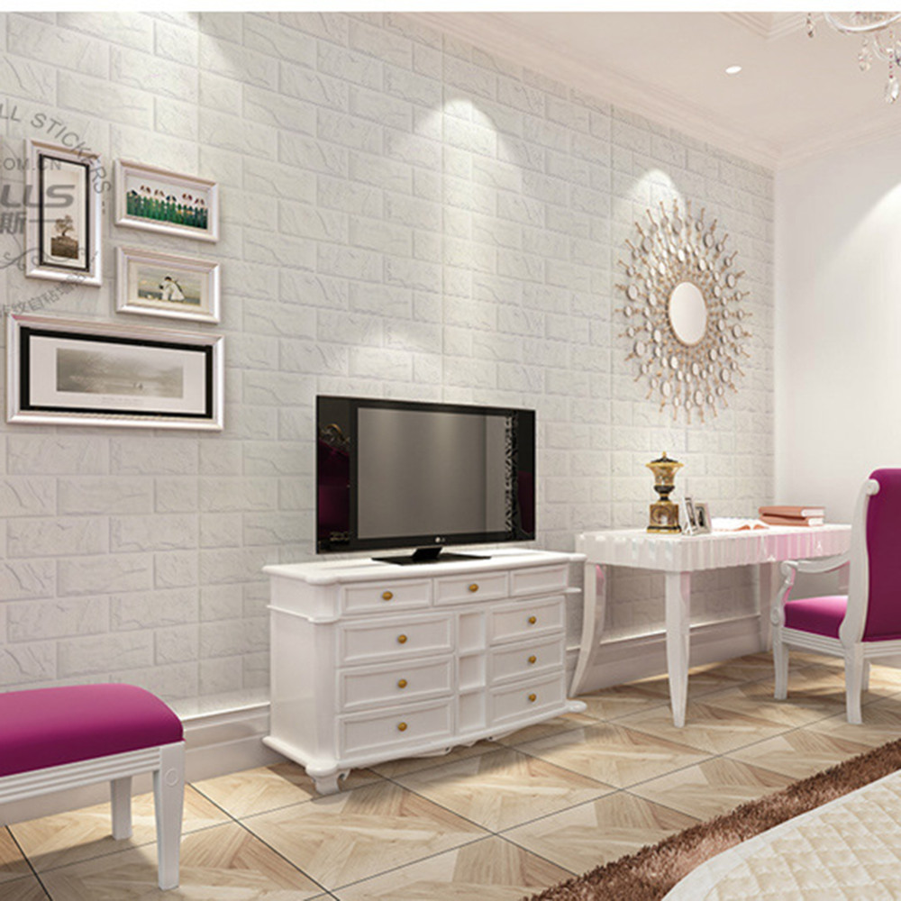 Wholesale 2016 new white 3d modern design brick wallpaper roll vinyl wall covering wall paper for Living room with brick wallpaper