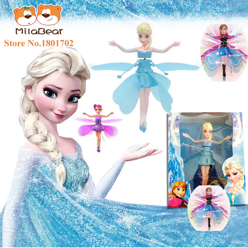Cheap Original Fever Princess Flying Fairy Elsa Toys With Lights Up Infrared Induction Doll for Kids Electronic Interactive Toys(China (Mainland))