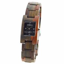 Caliente de la llegada pulsera de madera de la plaza de la cara de madera reloj pulsera de madera regalo único reloj de pulsera en caja de regalo