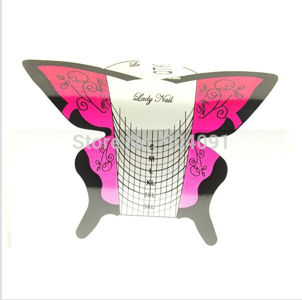 Wholesale 2015 NEW self-adhesive nail art form 300 with good quality/Professional Butterfly Nail Form Manufacturer. WT024(China (Mainland))