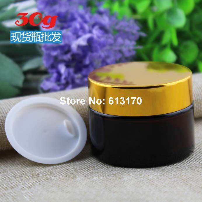 30ml 30g  Glass empty cream Jar with Gold lid Amber color cosmetic packing Container Eye Cream Jars 50pc/lot<br><br>Aliexpress