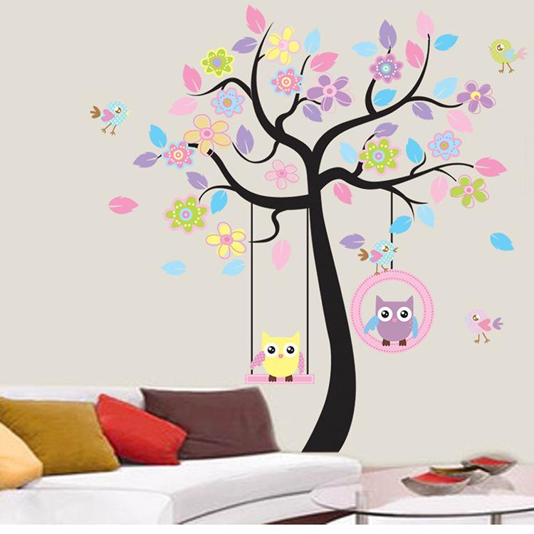 Swing Owl Birds Colorful flower Tree vinyl cartoon Art Wall Sticker children Room Decal kids Nursery house decoration home decor(China (Mainland))