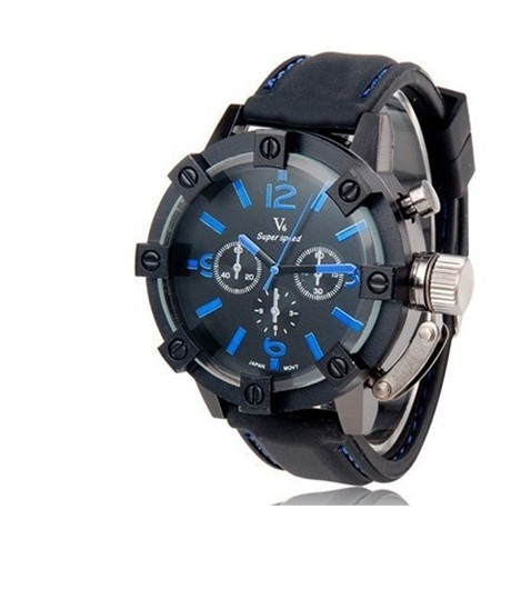 Vogue V6 3D surface Thick Case Strips Hour Marks Black Hours Analog Military Man Mens Business
