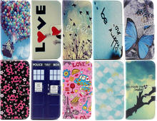 Cartoon Car PU Leather Stand Case For iPhone 6 6G 6s iPhone6 Flip Wallet Cover Beautiful Blue Butterfly Tower