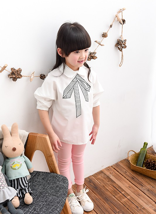 2016 Spring New Arrival Kids Clothes Girls white collar character printing Children's Fashion Long-sleeved Cotton Girls Blouse