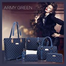 6 PCS/Set Women Bag Nylon Plaid Pattern Composite Bag 2016 Fashion Women Messenger Shoulder Handbag Purse Wallet Handbags bolsos