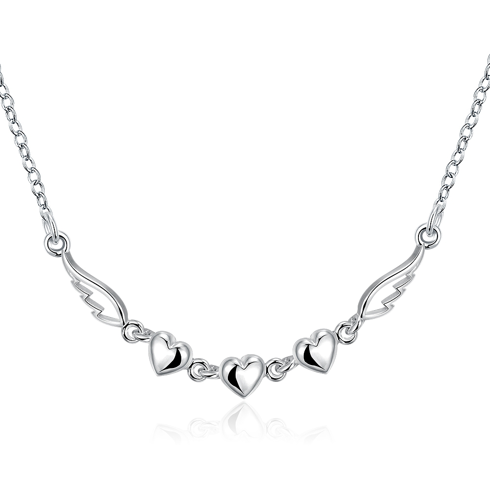 Top Quality Silver Jewelries Fashion Silver-Plated Link Chain Necklace Fairy Heart & Wing Pendant Nice Valentines Gift(China (Mainland))
