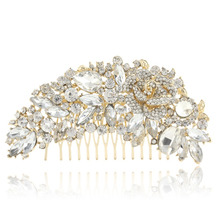 Bella 2015 2 Colors Flower Rhinestone Bridal Hair Comb Pin Pieces Wedding Austrian Crystal Accessories Jewelry