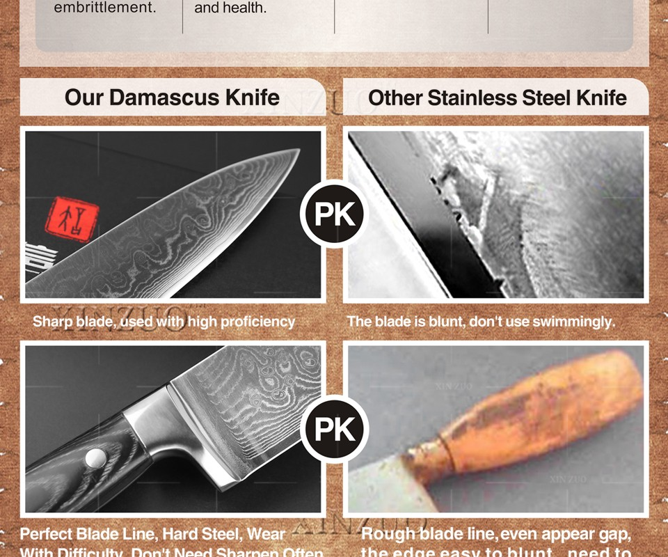 "Buy 8"" inch xinzuo chef knife 73 layers Damascus kitchen knife with Color wood handle sharp japanese VG10 chef knife free shipping cheap"