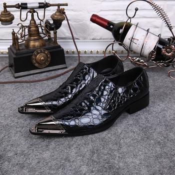 2015 новый человек обувь ручной работы из натуральной кожи мужская формальные свадебное ну вечеринку туфли мужчины шипы металлический наконечник деловой костюм обувь