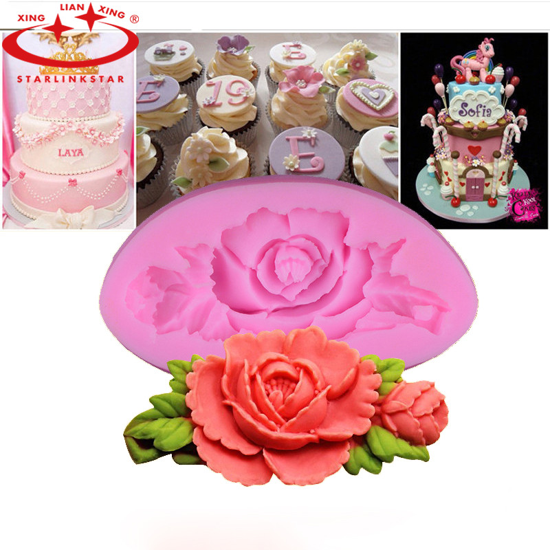 1Pcs 3D Rose Flower Cake Mold Silicone Fondant Cake Chocolate Soap Sugar Craft Mould Cutter DIY Baking Tools(China (Mainland))