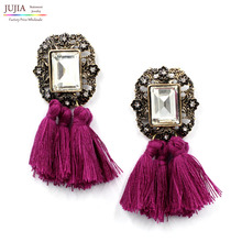 New 2016 fashion jewelry hot sale women crysta vintage tassel statement bib stud Earrings for women jewelry Factory Price(China (Mainland))
