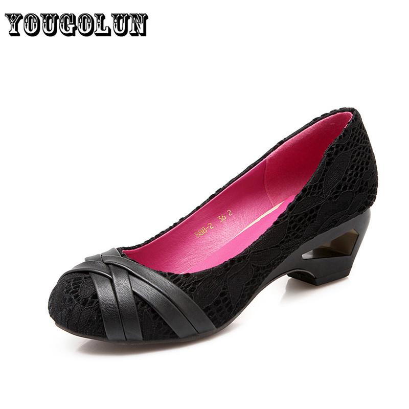 Ladies fashion lace wine red Black Women Pumps 2016 spring autumn plain Casual woman fretwork mid Heels shoes womens female shoe
