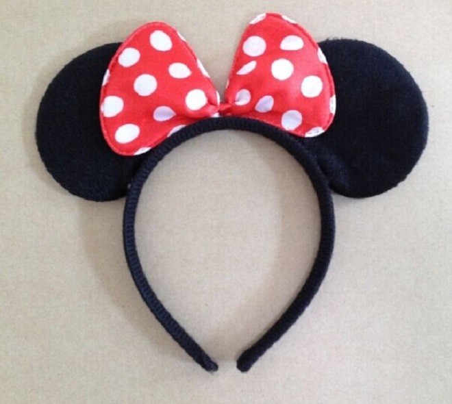 Minnie mouse Headband Children cosplay Hair Accessories Red Pink Bow Minnie Mouse ears kids birthday party Headwear(China (Mainland))