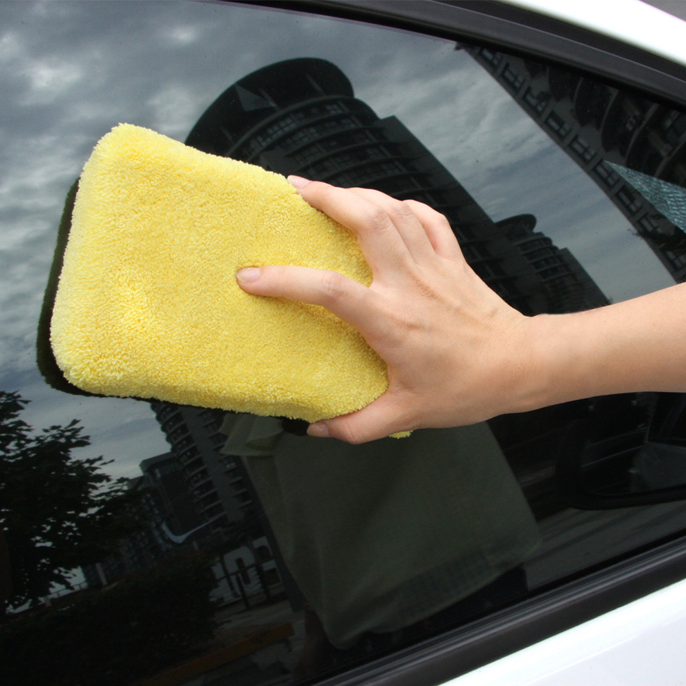 12.5*8cm Cheapest Microfibe Auto Car Window Cleaning Towel Cloth Tool Kit Polish Cleaner for Motorcycle Car Washer Sponge Brush(China (Mainland))