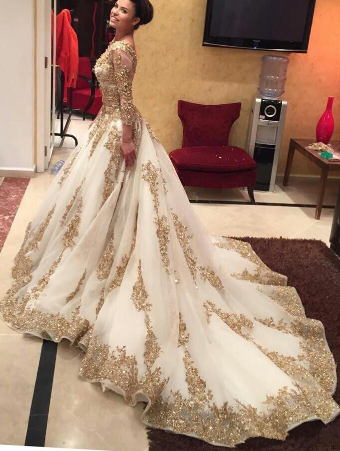 Popular Gold Beaded Ball Gown Prom Dress-Buy Cheap Gold Beaded ...