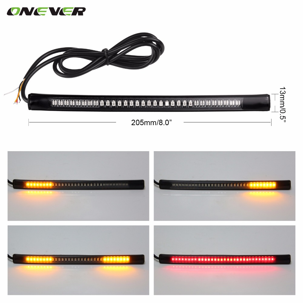 Universal Flexible LED Motorcycle Brake Lights Turn Signal Light Strip 48 Leds License Plate Light Flashing Tail Stop Lights(China (Mainland))