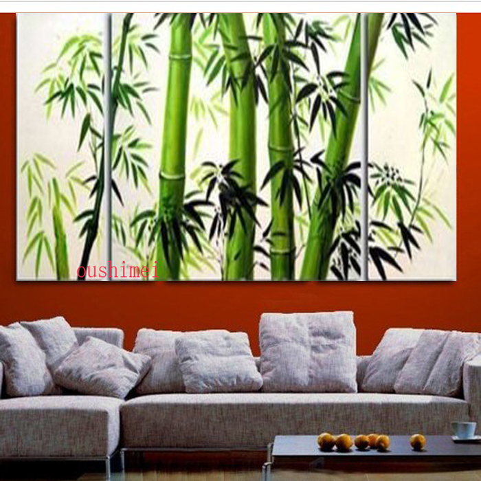 Guaranteed 100% New MODERN ABSTRACT WALL DECOR Oil Painting Bamboo 3pcs/set Landscape Green View Tree Picture On Canvas Painting(China (Mainland))