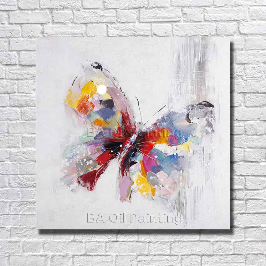 Beauty colorful butterfly wall picture big size art wall for Large colorful wall art